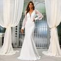White Deep V-Neck Mermaid Wedding Dress With Long Sheer Sleeves