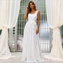 White Chiffon Beach Wedding Bridesmaid Dresses With Lace Embellished