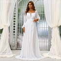 White Chiffon A-Line Beach Wedding Dresses With Long Sleeves