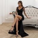 Black V-Neck Sleeveless Split Front Prom Dresses With Beading