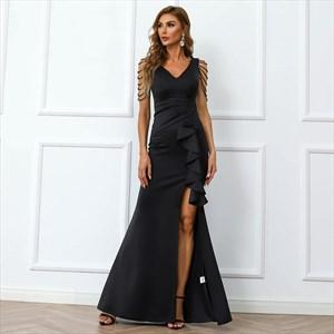 Black V-Neck Cascading Ruffle Split Front Prom Dresses With Beading