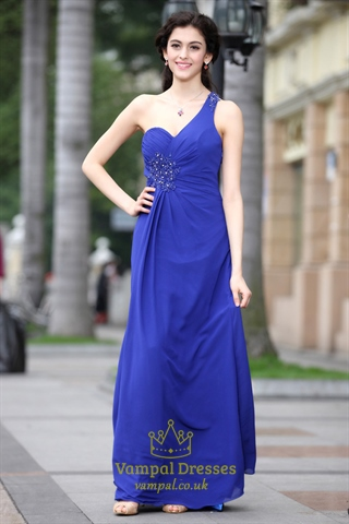 Royal Blue Prom Dresses One Shoulder Royal Blue Casual