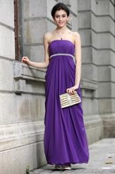 Long Purple Chiffon Bridesmaid Dresses,Modest Bright Purple Bridesmaid Dresses