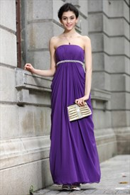 Long Purple Chiffon Bridesmaid Dresses,Modest Bright Purple Bridesmaid Dresses