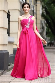 Hot Pink One Shoulder Bridesmaid Dresses,One Strap Fuschia Bridesmaid Dresses