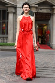 Long Red Chiffon Prom Dress,Red Prom Dresses With Lace Top