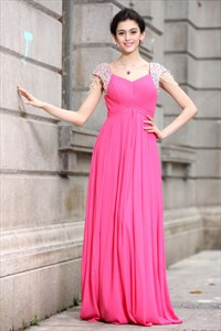 Hot Pink Prom Dresses With Cap Sleeves,Hot Pink Dresses For Damas