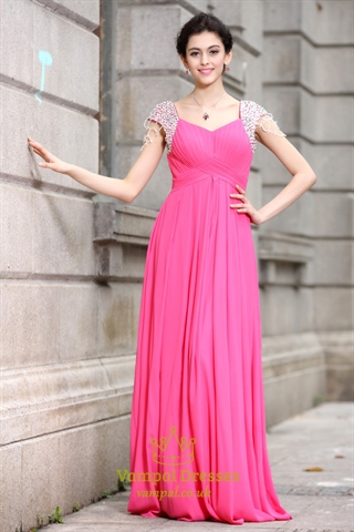 Hot Pink Prom Dresses With Cap Sleeves Hot Pink Dresses
