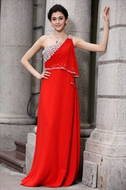 Red One Shoulder Prom Dresses 2019,One Shoulder Red Evening Gowns With Crystals