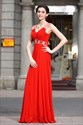 Red Pleated Cap Sleeves Chiffon Dress,Red Prom Dresses With Cap Sleeves