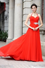Halter Neck Red Maxi Carpet Dresses,Long Red Halter Neck Formal Dress