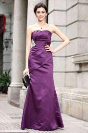 Purple Sweetheart Prom Dresses Long,Long Purple Satin Bridesmaid Dress