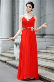Long Elegant Red Prom Dresses,Red Evening Gowns 2019 With Spaghetti Straps