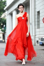 Long Red One Shoulder Prom Dresses 2019,Long Red Chiffon Prom Dress