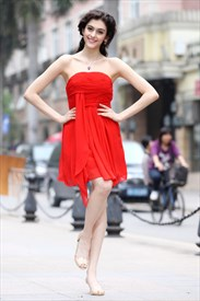 Short Red Strapless Bridesmaid Dresses,Red Short Dresses For Teenagers