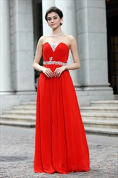 Elegant Red A-Line Floor-Length Strapless Dress,Red Long Chiffon Prom Dress