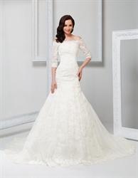 Off Shoulder Vintage Wedding Dress With Sleeves 2018,Off White Vintage Lace Wedding Dress