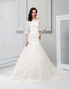 Off Shoulder Vintage Wedding Dress With Sleeves 2021,Off White Vintage Lace Wedding Dress