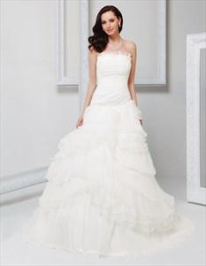 Beautiful Fluffy Wedding Dresses,Puffy Wedding Dresses 2021,Flowy Strapless Wedding Dresses Beach