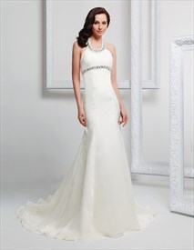 Simple Halter Top Wedding Dresses For The Beach,Wedding Dresses With Halter Neckline