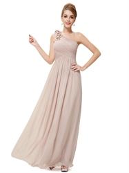 Old Dusty Rose Bridesmaid Dresses One Shoulder,One Shoulder Bridesmaid Dresses Pink Chiffon Long