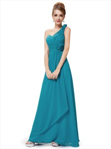 Teal One Shoulder Bridesmaid Dress,Teal Bridesmaid Dresses With Flowers