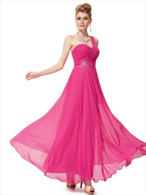 One Shoulder Bridesmaid Dresses Pink Chiffon,Pink One Shoulder Chiffon Long Dress