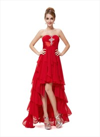 High Low Prom Dresses With Ruffles,Red High Low Prom Dresses 2019