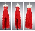 High Low Prom Dresses With Ruffles,Red High Low Prom Dresses 2021