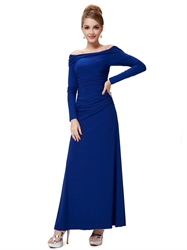 Royal Blue Long Prom Dresses With Sleeves,Off The Shoulder Long Sleeve Bodycon Dress