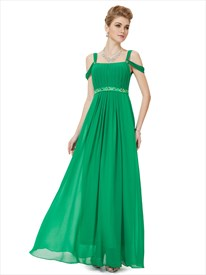 Green Prom Dresses With Straps,Green Off Shoulder Straps Evening Dress UK On Sale