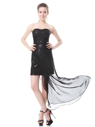 Black Sequin Mini Dress With Sheer Overlay,Black Short Sequin Dress