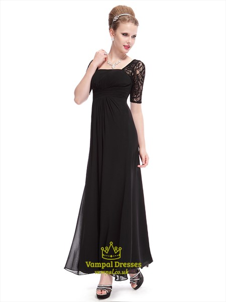 Long Black Prom Dresses 2019,Black  Prom Dresses With Lace Sleeves
