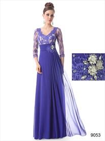 Blue Mother Of The Bride Dress  Floor Length With Jacket,Mother Of The Bride Dresses With Lace Sleeves