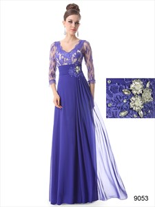 Blue Mother Of The Bride Dress  Floor Length With Jacket,Mother Of The Bride Dresses With Lace Sleeves
