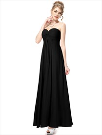 Black Bridesmaid Dresses Long Different Styles,Sweetheart Neckline Bridesmaid Dresses With Straps
