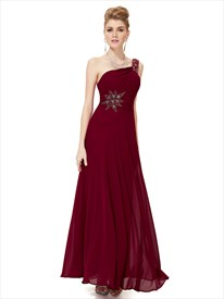 Maroon One Shoulder Dress,Burgundy One Shoulder Bridesmaid Dresses Modest
