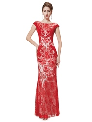 Red Lace Mermaid Prom Dresses,Red Mermaid Evening Dresses With Lace Overlay