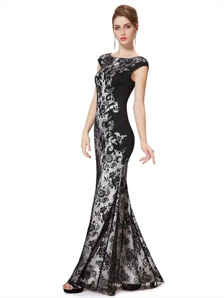 Black Lace Mermaid Prom Dresses 2019,Long Black  Lace Mermaid Prom Dress With Cap Sleeves