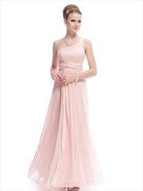 Blush Pink One Shoulder Bridesmaid Dress,Petal Pink Bridesmaid Dresses Chiffon Long