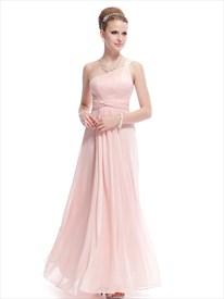 Blush Pink One Shoulder Bridesmaid Dress,Petal Pink Bridesmaid Dresses Chiffon Long