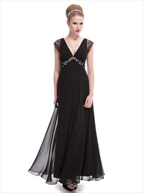 Long Black V Neck Dress With Lace Cap Sleeves,Black Evening Gowns Chiffon