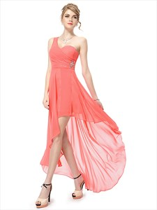 Coral One Shoulder Bridesmaid Dress,Coral High Low Prom Dresses 2021