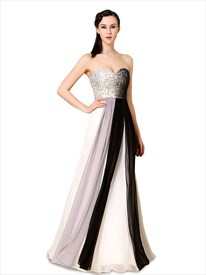 Black And White Dresses Formal With Sparkle Top,Multi Color Dresses For Prom
