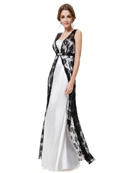 White Dress With Black Lace Overlay,White Strapless Dress With Black Lace