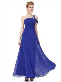 Royal Blue One Shoulder Prom Dress,Long One Shoulder Evening Dresses