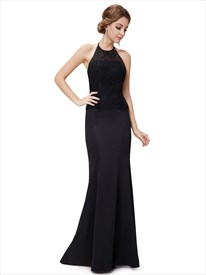 Black Mermaid Dress Open Back,High Neck Mermaid Prom Dresses