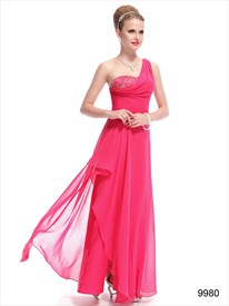 Hot Pink One Shoulder Dress,Pink One Shoulder Chiffon Dress
