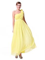 Yellow One Shoulder Bridesmaid Dresses Chiffon,Long One Shoulder Bridesmaid Dresses
