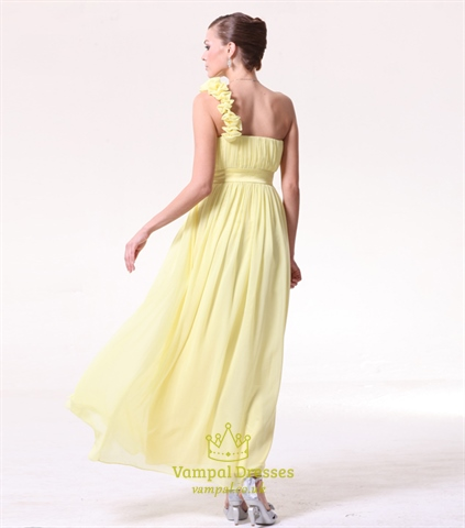 yellow one shoulder bridesmaid dresses chiffonlong one